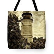 The Key West Lighthouse In Sepia Tote Bag