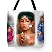 The Kids Of India Triptych Tote Bag
