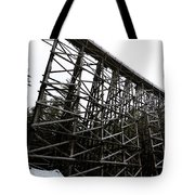 The Kinsol Trestle Panorama View On Snowy Day 1. Tote Bag