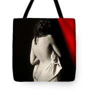 The Lady Near Red Tote Bag