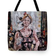 The Lady With The Fan Tote Bag