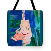 The Lady With The Speaker Box Tote Bag