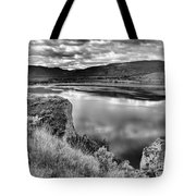 The Lake In Black And White Tote Bag