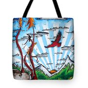 The Last Frontier Original Madart Painting Tote Bag