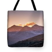 The Last Light Of The Day Over Snowdon. Tote Bag