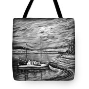 The Last Sunset Before Sailing Black And White Tote Bag