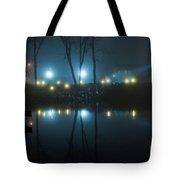 The Light From The Shore Lights Reflected In The Water 3 Tote Bag