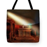 The Light In The Abandoned Church - La Luce Nella Chiesa Abbandonata Tote Bag