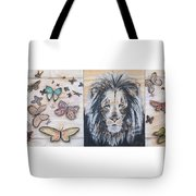 The Lion And The Butterflies Tote Bag