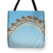 The London Eye Ferris Wheel Against A Cold Blue Winter Sky Tote Bag