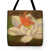 The Lotus And The Dragonfly Tote Bag