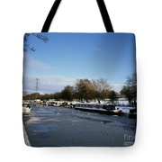 The Macclesfield Canal At Poynton In Winter And Frozen  Cheshire England Tote Bag