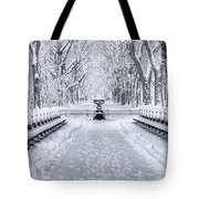 The Mall In Snow Central Park Tote Bag