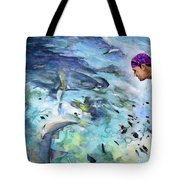 The Man And The Sharks Tote Bag