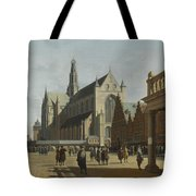 The Market Place And The Grote Kerk At Haarlem Tote Bag