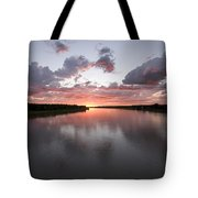 The Missouri River At Sunset Reflects Tote Bag