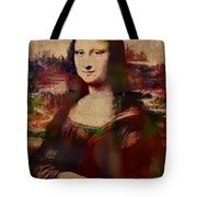 The Mona Lisa Colorful Watercolor Portrait On Worn Canvas Tote Bag
