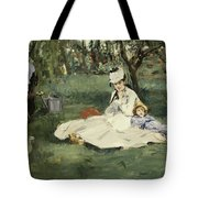 The Monet Family In Their Garden At Argenteuil Tote Bag