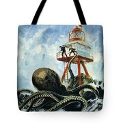 The Monster Of Serrana Cay Tote Bag by Graham Coton