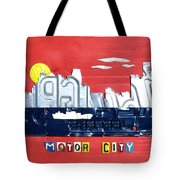 The Motor City - Detroit Michigan Skyline License Plate Art By Design Turnpike Tote Bag