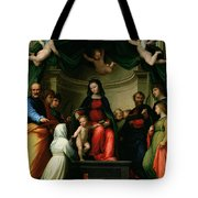 The Mystic Marriage Of St Catherine Of Siena With Saints Tote Bag