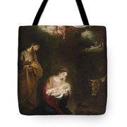 The Nativity With The Annunciation To The Shepherds Beyond Tote Bag