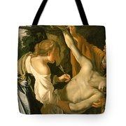 The Nursing Of Saint Sebastian Tote Bag by Theodore van Baburen