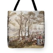 The Officers And Seaman Of The Fleet On Shore At Nargen Tote Bag