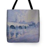 The Old Bridge In Morning Fog Maastricht Tote Bag