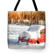 The Old Farm Truck In The Snow Tote Bag