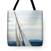 The Old Sailing Yacht At Competitions In The Gulf Of Saint Trope Tote Bag