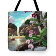 The Orchids And The Sailboat Tote Bag