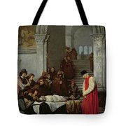 The Painter Luca Signorelli Standing By The Body Of His Rival's Dead Son Tote Bag