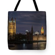 The Palace Of Westminster By Night Tote Bag