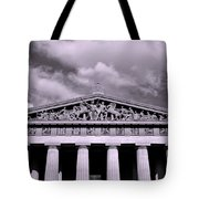 The Parthenon In Nashville Tennessee Black And White Tote Bag