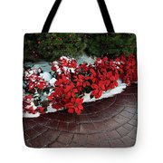 The Path To Christmas - Poinsettias, Trees, Snow, And Walkway Tote Bag