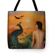 The Peacock And The Crane Tote Bag