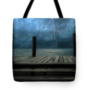The Pier And The Storm Tote Bag
