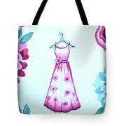 The Pink Floral Dress Tote Bag