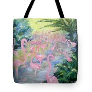 The Pink Pond Of Flamingos Tote Bag