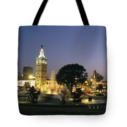 The Plaza In Kansas City, Mo, At Night Tote Bag