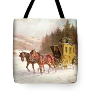 The Post Coach In The Snow Tote Bag by Fritz van der Venne