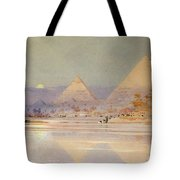 The Pyramids At Dusk Tote Bag by Augustus Osborne Lamplough