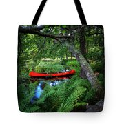 The Red Canoe On The Lake Tote Bag