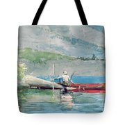 The Red Canoe Tote Bag by Winslow Homer