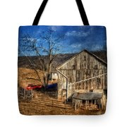 The Red Truck By The Barn Tote Bag