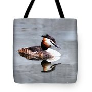 The Reflection Of A Grebe Tote Bag