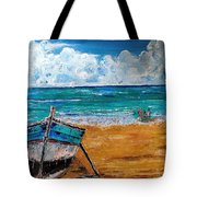 The Resting Boat And The Beach Holidays Tote Bag