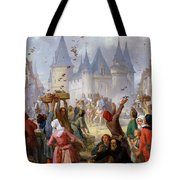 The Return Of Saint Louis Blanche Of Castille To Notre Dame Paris Tote Bag by Pierre Charles Marquis
