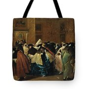 The Ridotto In Venice With Masked Figures Conversing Tote Bag